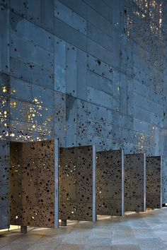 Perforated metal facade.