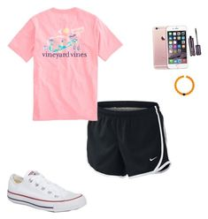 """""""Ootd// going to orientation"""" by kendallthackston ❤ liked on Polyvore featuring NIKE, Converse, tarte and Lokai"""