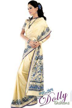 Creme Silk Saree