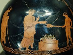 Sacrifice scene, with kalos inscription. Detail from an Attic red-figure oinochoe, ca. The Louvre. Greek Pottery, High Priest, Pottery Vase, Ancient Greek, High Quality Images, Archaeology, Erotic, Religion, Louvre
