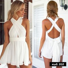 Product Description: Women Fashion Casual Sexy Back Cross Strap Deep V Neck Sleeveless Backless High Waist Solid Chiffon Jumpsuit. Material: Chiffon, Polyester, 5 Colors available: White, Orange, Ligh Older Women Fashion, Womens Fashion, Mode Outfits, Fashion Outfits, Fashion Top, Cheap Fashion, Stylish Outfits, Style Fashion, Cute Rompers
