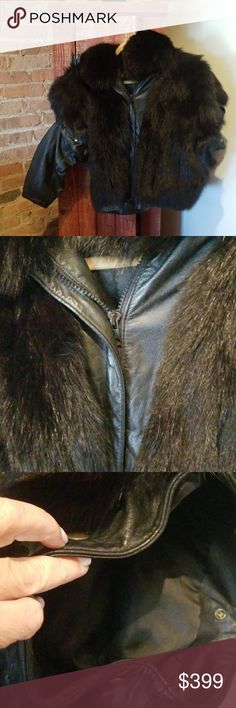 Fur jacket Black fox short jacket with detachable leather sleeves. Great to wear as vest with jeans Jackets & Coats