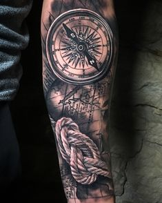 We stay in the classics with this compass on a nautical map background. Tattoo Sleeve Designs, Sleeve Tattoos, Great Tattoos, Tattoos For Guys, Map Background, Forearm Tattoo Design, Compass, Tatting, Tattoo Man