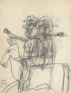 Carlos Almaraz (Mexico, 1941 - 1989)  Horse and Rider, 1969  Drawing, Graphite, Sheet: 12 x 9 in. (30.48 x 22.86 cm)  Gift of Elsa Flores Almaraz and Maya Almaraz (M.91.370.11)  Prints and Drawings Department. LACMA