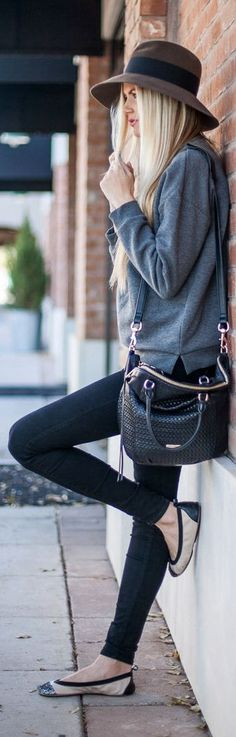 baggy sweater, leggings, flats, hat