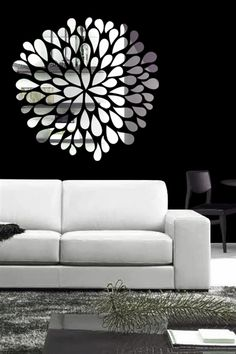 Reflective Pom Pom Wall Decals have a soft, organic flower design that will will make any ordinary wall pop with interest! Pair this pom pom design with others in varying sizes to scatter over the sofa, or accent . Flower Wall Decals, Kids Wall Decals, Mirror Wall Stickers, Wall Mirror, Cool Wall Art, Diy Wall Art, Wall Decor, Modern Mirror Design, Contemporary Wall Art