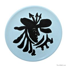"Surreal glazed pottery plate by Jean Lurcat, France, c. 1920s-1930s. Diameter: 8-1/2"" #Ceramic #EarthenWare #JeanLurcat"
