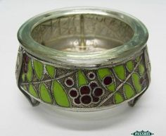 Russian Silver Plated And Enamel Open Salt Cellar