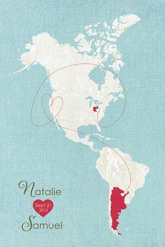 World Map  Love Map  Customized Art Print   by HereandThereShop, $145.00  #GardnerEffect #ColoradoWedding #DenverWedding