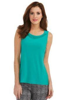 Cato Fashions Chiffon Inset Sleeveless Knit Top #CatoFashions