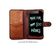 Lumia 535 Leather Wallet Case - No Plastic - Free Inscription