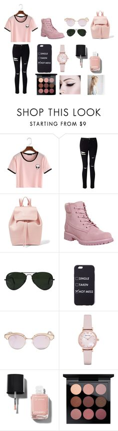 """""""Living in pink"""" by laviefashion on Polyvore featuring Miss Selfridge, Mansur Gavriel, Timberland, Ray-Ban, Le Specs, Emporio Armani, Chanel and MAC Cosmetics"""