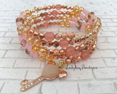 ~wraparound memory wire ~one size fits all ~made with a variety of glass and metal beads and charms. Beaded Jewelry, Beaded Bracelets, Wrap Bracelets, Diy Jewelry Inspiration, Jewelry Ideas, Princess Charming, Light Rose, Baby Bracelet, Memory Wire Bracelets
