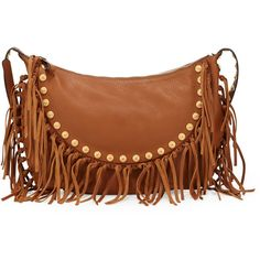 Valentino C-Rockee Studded Fringe Hobo Bag (12.175 VEF) ❤ liked on Polyvore featuring bags, handbags, shoulder bags, purses, accessories, bolsas, brown hobo handbags, hobo shoulder bag, brown hobo purse and fringe tassel shoulder bag