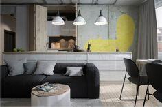 Betonowa ściana z grafiką kota w minimalistycznym lofcie - projekt ZOOI.