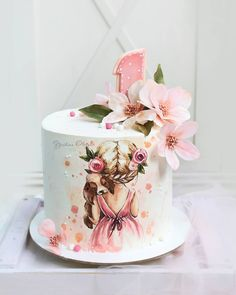 The video consists of 23 Christmas craft ideas. Buttercream Cake, Fondant Cakes, Cupcake Cakes, Creative Cake Decorating, Cake Decorating Techniques, Painted Wedding Cake, Fantasy Cake, Hand Painted Cakes, Baby Birthday Cakes