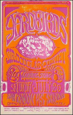 The Yardbirds/Sir Douglas Quintet Concert Poster. July 29, 1967.