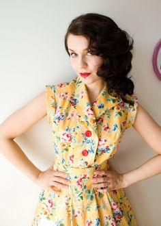 50s style floral shirt waist dress by cherise