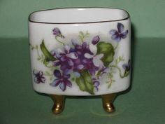 Vintage LEFTON PORCELAIN TOOTHPICK HOLDER Violets