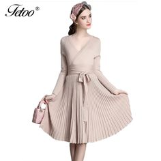 Vintage Elegant Women's Sweater Dress A-line Deep V Neck Belted Pleated Long Sleeve Solid Knitted Dresses Female vestidos P40