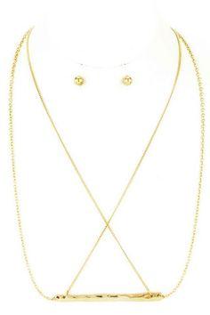 Criss Cross Chain Bar Necklace – NanoNano