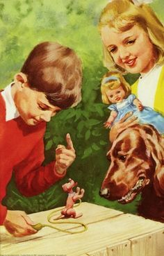 Peter and Jane show Pat the toy dog - Peter & Jane, Read & Write Red And White Setter, Ladybird Books, Happy Pictures, Book Illustrations, Dog Toys, Children, Kids, Irish, The Past