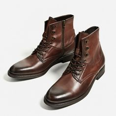 Image 2 of BROWN LEATHER BOOT from Zara