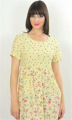 Vintage 80s Boho Hippie Pastel  mini floral Prairie Party mini dress