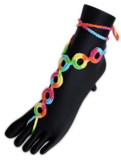 Crochet Barefoot Sandals. Foot Jewelry. Rainbow by VividBear