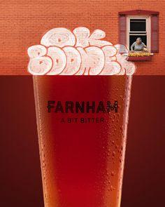 Farnham Ale & Lager Print Advert By A bit bitter Print Advertising, Creative Advertising, Print Ads, Banner, Beer Tasting, Smirnoff, Candy Shop, Ad Design, Pint Glass