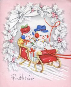 Snowman Couple in a Sleigh, Vintage Christmas Card-Greeting Vintage Greeting Cards, Christmas Greeting Cards, Christmas Greetings, Vintage Postcards, Vintage Images, Vintage Pink Christmas, Vintage Holiday, Snowman Cards, Christmas Graphics