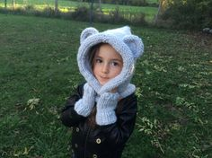 Tuto tricot : Capuche oreilles d'ours / Knitted bear hooded cowl easy