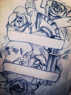 my thigh tattoo sketch - skull / rose / gun