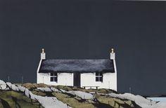 Ron Lawson_haunn, Eriskay British Schools, Powerful Art, Outer Hebrides, Study Ideas, House Landscape, Grey Skies, Landscape Illustration, Watercolor Cards, Watercolours