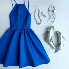 Customized Cute Prom Dresses Short Flat-Out Blue Backless Short Prom Dress,Spaghetti Straps Homecoming Dresses Pretty Dresses, Beautiful Dresses, Royal Blue Homecoming Dresses, Homecoming Outfits, Homecoming Dance, Royal Blue Dresses, Short Dresses, Prom Dresses, Dress Prom