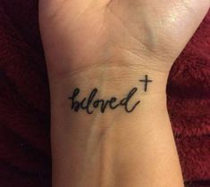 33 Cool Small Wrist Tattoos For Guys Believe Wrist Tattoo, Love Wrist Tattoo, Cross Tattoo On Wrist, Wrist Tattoos For Guys, Small Wrist Tattoos, Back Tattoo, Tattoo Small, Tiny Cross Tattoos, Wrist Tattoos Quotes
