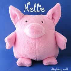 Nellie - a cuddly pig stuffed animal pattern from Shiny Happy World