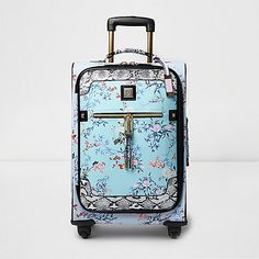 Fabric outer Floral print Snake print panel Structured shape Four wheels Front zip pocket Zip around fastening Top and side handles Luggage tag Gold tone hardware Cabin luggage Height width depth volume Travel Luggage, Luggage Bags, Travel Bags, Travel Stuff, Cabin Suitcase, Carry On Suitcase, Cabin Luggage, Vintage Luggage, Womens Purses