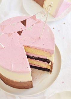 RASPBERRY NEAPOLITAN CAKE ~~~ chocolate cake, vanilla cake, raspberry compote, swiss meringue buttercream [sweetapolita]