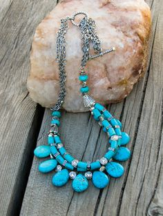 Multi Strand Turquoise Necklace l wanderingroot.com