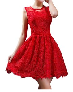 Red Lace A-line Party Dresses Short Prom Dresses Sleeveless Bridesmaid Dresses Custom on Luulla