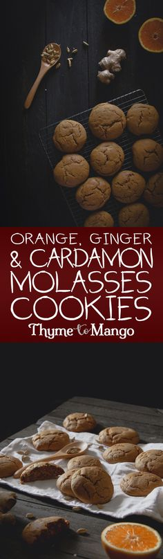 These soft and chewy Molasses cookies with orange, ginger and cardamon will certainly satisfy your sweet tooth Mango Recipes, Gourmet Recipes, Sweet Recipes, Baking Recipes, Cookie Recipes, Dessert Recipes, Chard Recipes, Vegan Desserts, Cookies