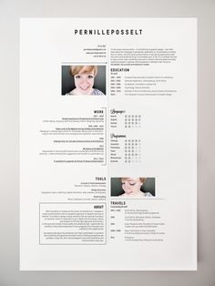 Resumé by Pernille Posselt, via Behance. Sometimes I wish I was applying for jobs just so I could make a cool resume. Resume Layout, Resume Cv, Resume Design, Simple Resume Examples, Cv Simple, Resume Ideas, Cv Ideas, Portfolio Resume, Portfolio Design