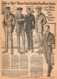 1922 Spring/Summer Catalog, National Cloak & Suit Co., page 325 Vintage Ephemera, Vintage Ads, Decoupage Vintage, 1940s Mens Fashion, Vintage Fashion, 1920 Men, Holiday Costumes, Dapper Dan, Bespoke Suit