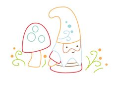 Gnome and Mushrooms free embroidery design from Doodle Stitching author Aimee Ray. This is going on the apron pocket of the dirnl skirt. Like tonight.