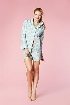 Light Blue Stripe Cotton L/S Shorty PJ 1177-C-5651