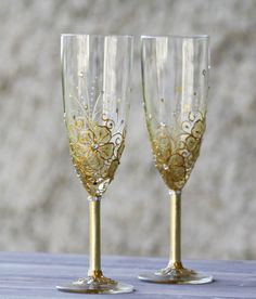 Wedding Hand Painted Champagne Flutes