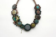 Crochet necklace with fabric buttons statement eco by rRradionica, $99.00