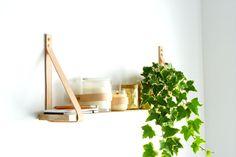 Shelf- Tan Leather Straps Pine Wall Hung Shelf with Brass Screws with FREE Australian Postage