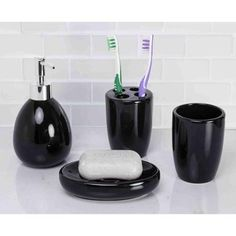 black glitter bathroom accessories. Home Basics 4 Piece Black Bathroom Accessory Set 3pc modern silver black sparkle mosaic glass tile bathroom